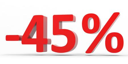 45: Discount 45 percent off sale. 3D illustration.