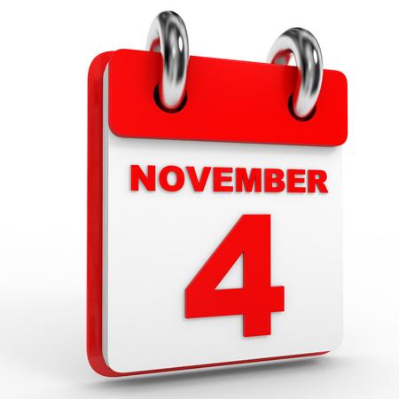 calendario noviembre: Calendario de 4 de noviembre, sobre fondo blanco. Ilustración 3D.