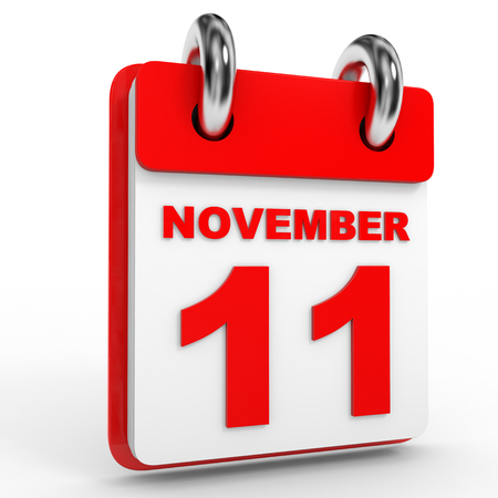 number eleven: 11 november calendar on white background. 3D Illustration.