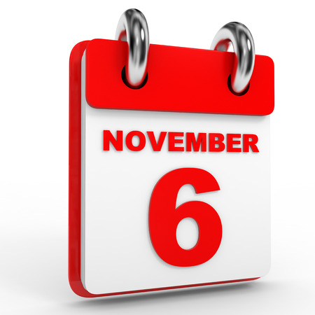 november calendar: 6 november calendar on white background. 3D Illustration.