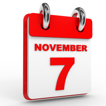november calendar: 7 november calendar on white background. 3D Illustration.
