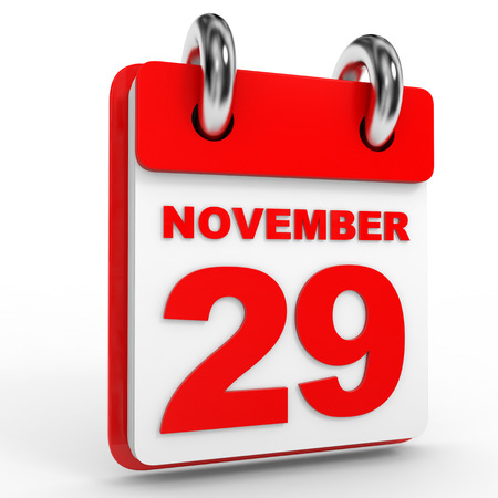 calendario noviembre: calendario 29 de noviembre relativa fondo blanco. Ilustración 3D. Foto de archivo