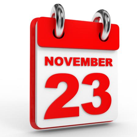 calendario noviembre: calendario 23 de noviembre, el fondo blanco. Ilustraci�n 3D. Foto de archivo