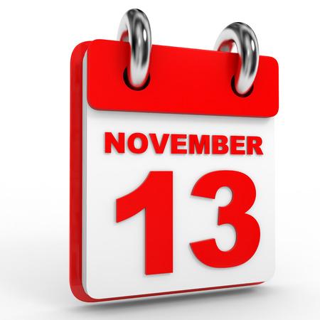 calendario noviembre: calendario de 13 de noviembre, sobre fondo blanco. Ilustración 3D.