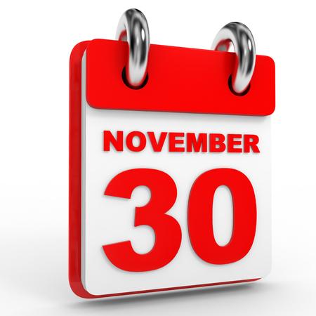 30th: 30 november calendar on white background. 3D Illustration.
