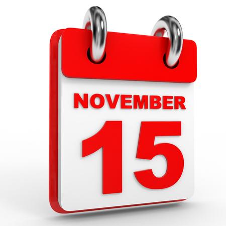 calendario noviembre: civil, el 15 de noviembre, sobre fondo blanco. Ilustración 3D.
