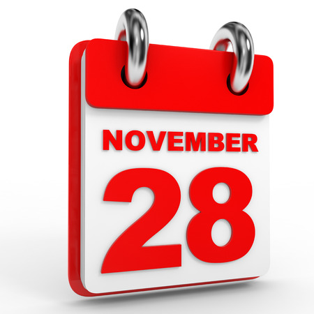 november calendar: 28 november calendar on white background. 3D Illustration.