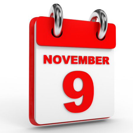 9th: 9 november calendar on white background. 3D Illustration.