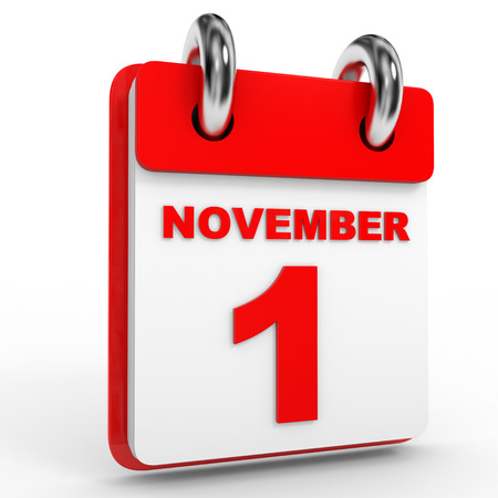 november calendar: 1 november calendar on white background. 3D Illustration. Stock Photo