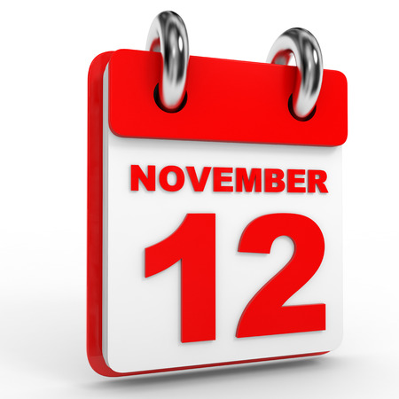 12: 12 november calendar on white background. 3D Illustration.