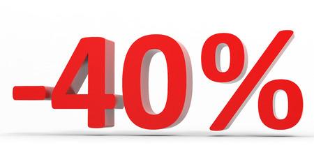 40: Discount 40 percent off sale. 3D illustration.