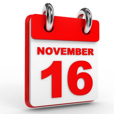calendario noviembre: calendario 16 de noviembre, sobre fondo blanco. Ilustración 3D.