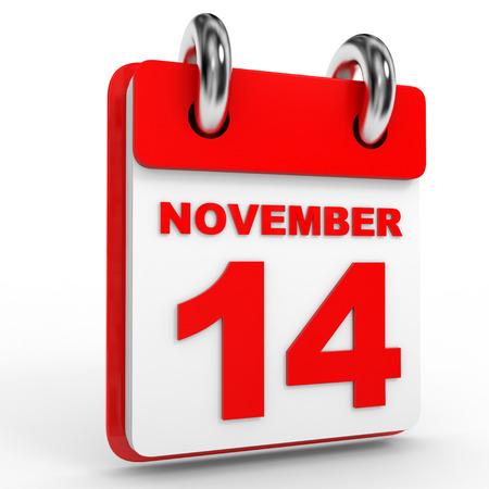 calendario noviembre: 14 calendario de noviembre, sobre fondo blanco. Ilustración 3D.