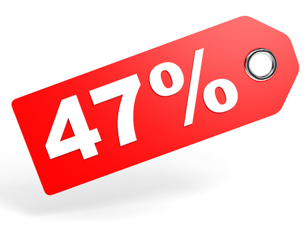 price hit: 47 percent red discount tag on white background. 3D illustration. Stock Photo