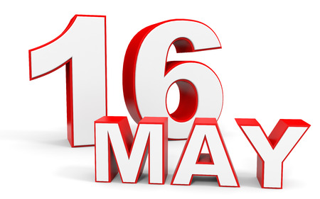 16: May 16. 3d text on white background. Illustration.