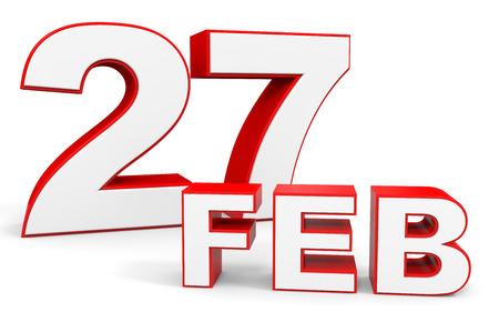 27: February 27. 3d text on white background. Illustration. Stock Photo