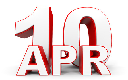 tenth: April 10. 3d text on white background. Illustration.