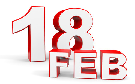 18th: February 18. 3d text on white background. Illustration. Stock Photo