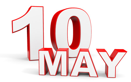 10th: May 10. 3d text on white background. Illustration. Stock Photo
