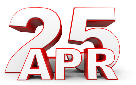 twenty fifth: April 25. 3d text on white background. Illustration. Stock Photo