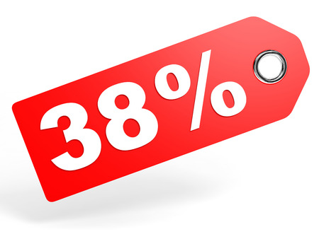 price hit: 38 percent red discount tag on white background. 3D illustration. Stock Photo