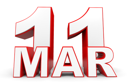 11 number: March 11. 3d text on white background. Illustration.