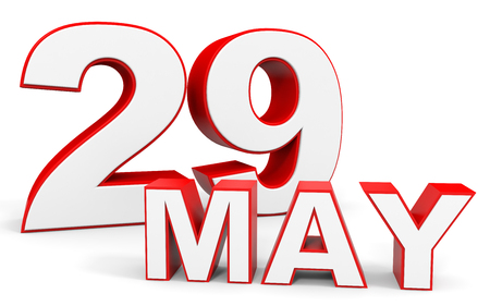 twenty ninth: May 29. 3d text on white background. Illustration.