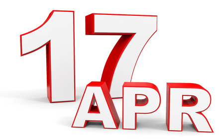 17th: April 17. 3d text on white background. Illustration.
