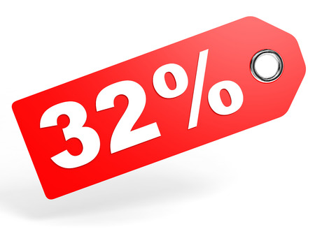 32: 32 percent red discount tag on white background. 3D illustration.