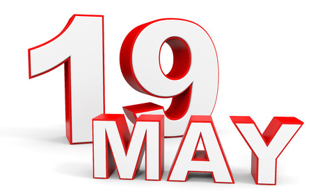 19: May 19. 3d text on white background. Illustration.