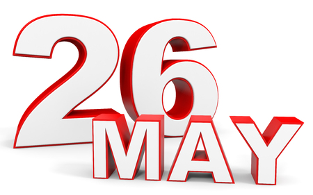 26: May 26. 3d text on white background. Illustration. Stock Photo