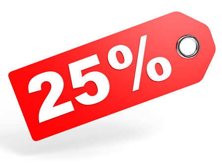 25 percent red discount tag on white background. 3D illustration. 版權商用圖片