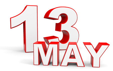 13: May 13. 3d text on white background. Illustration. Stock Photo