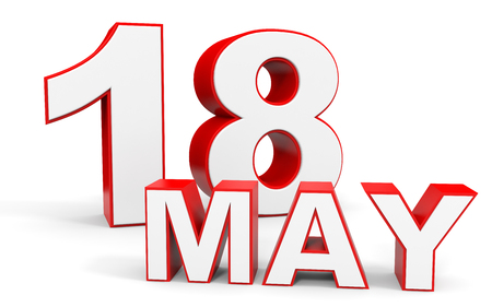 18: May 18. 3d text on white background. Illustration.