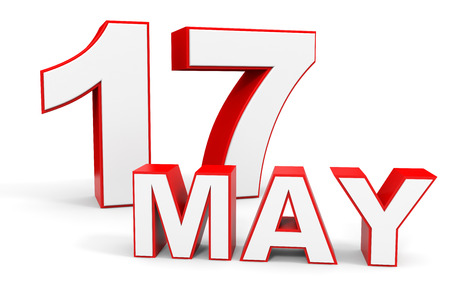 seventeenth: May 17. 3d text on white background. Illustration.