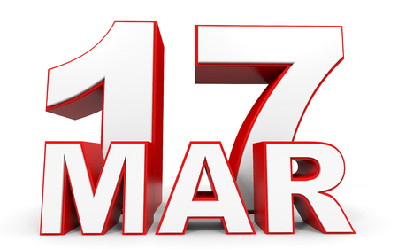 17th: March 17. 3d text on white background. Illustration. Stock Photo