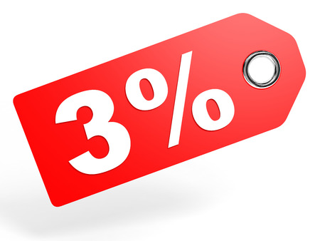 price hit: 3 percent red discount tag on white background. 3D illustration. Stock Photo