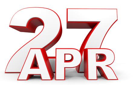 seventh: April 27. 3d text on white background. Illustration. Stock Photo