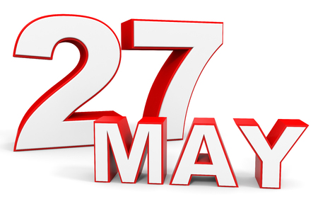 may: May 27. 3d text on white background. Illustration.