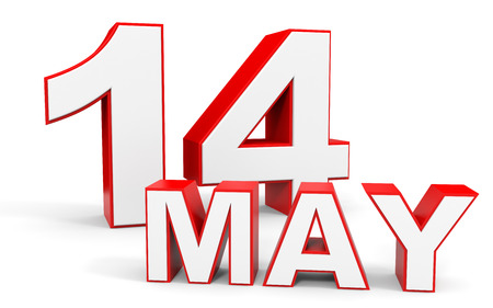 may: May 14. 3d text on white background. Illustration.