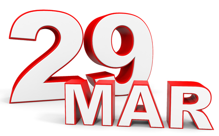 twenty ninth: March 29. 3d text on white background. Illustration.