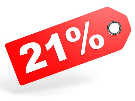 21: 21 percent red discount tag on white background. 3D illustration. Stock Photo