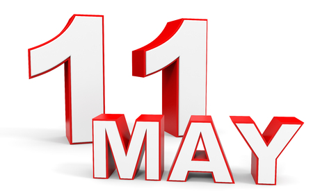 11: May 11. 3d text on white background. Illustration. Stock Photo