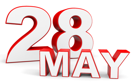 28: May 28. 3d text on white background. Illustration.