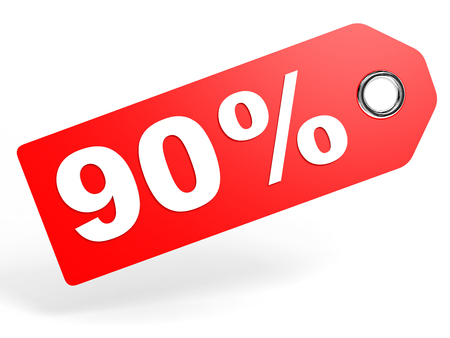 90: 90 percent red discount tag on white background. 3D illustration.
