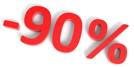 90: Discount 90 percent off sale. 3D illustration.