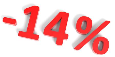 14: Discount 14 percent off sale. 3D illustration.