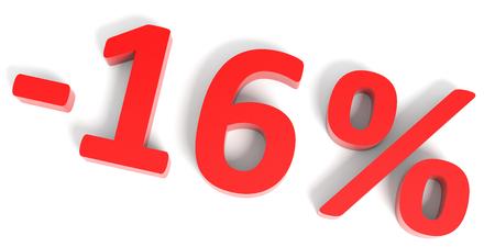 16: Discount 16 percent off sale. 3D illustration.