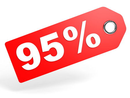 95: 95 percent red discount tag on white background. 3D illustration.