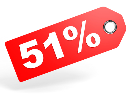 51: 51 percent red discount tag on white background. 3D illustration. Stock Photo